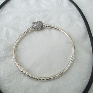 Authentic Pandora Pave Heart Clasp Bracelet